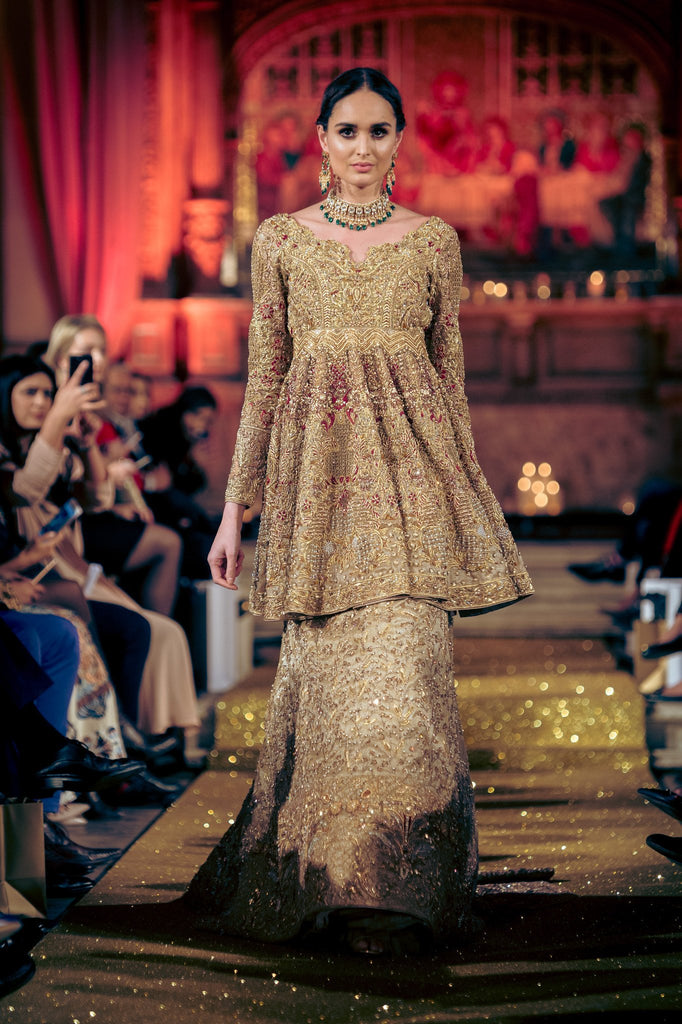 Rani Emaan - Tissue  Short Peplum With Trail Lehnga - Golden Myst