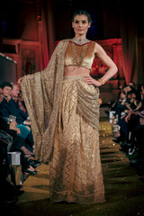 Seher Tareen - Fully Worked Geometric Jaal Lehnga With Sari & Blouse