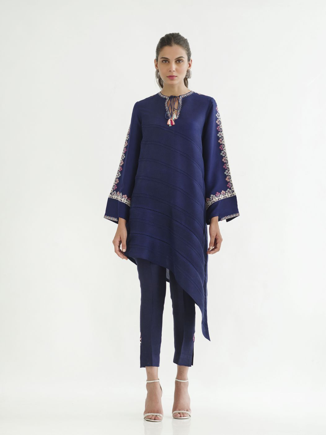 Sania Maskatiya - Blue Raw Silk Asymmetric Shirt