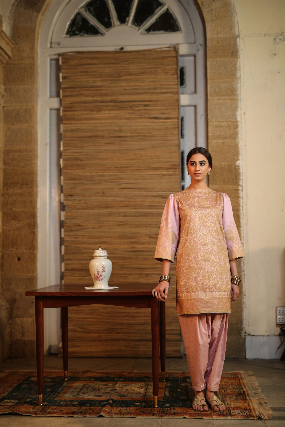 Alkaram Studio - Pink 2 Piece Printed Suit With Cambric Trouser