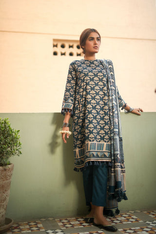 Alkaram Studio - Blue 3 Piece Printed Suit With Lawn Dupatta