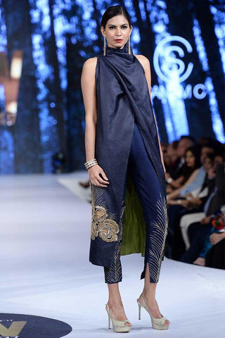 Sanam Chaudhri - Midnight Blue Hand Worked High Cowl Jacket And Trousers