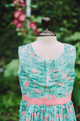 Hummingbirds - Sea Green & Peach Flamingo Frock