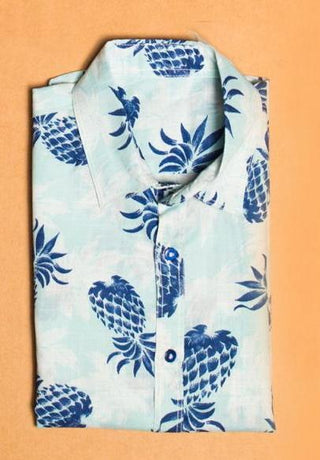 Hummingbirds - Blue Pineapple Collared Shirt