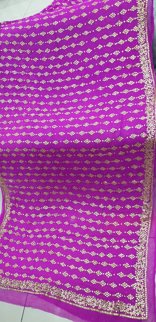 Designs By Amina - Hand Worked Chiffon Sari
