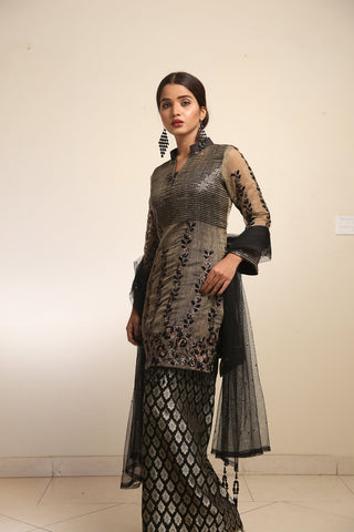 Maliha Kamal - Dark Grey Black Olive