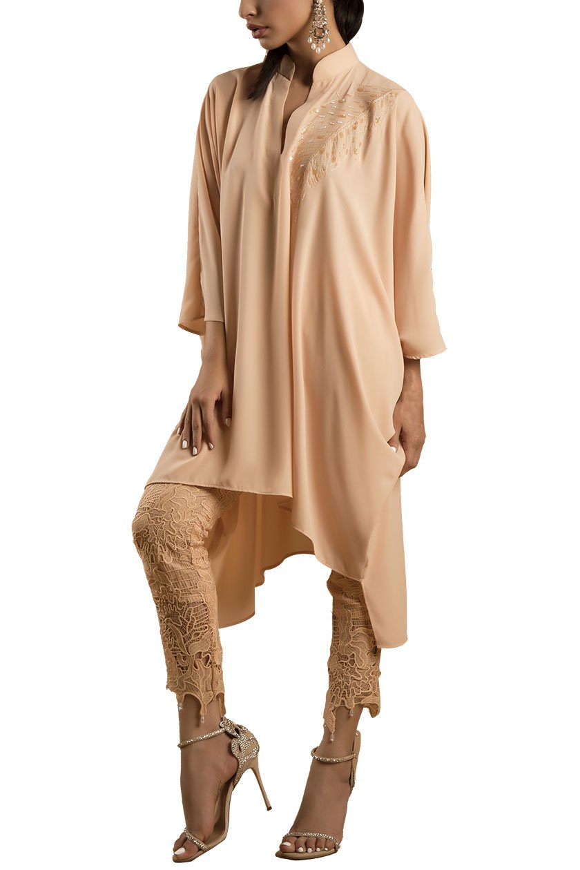 Sanam Chaudhri - Sand Handcrafted Tunic With Crochet Pants