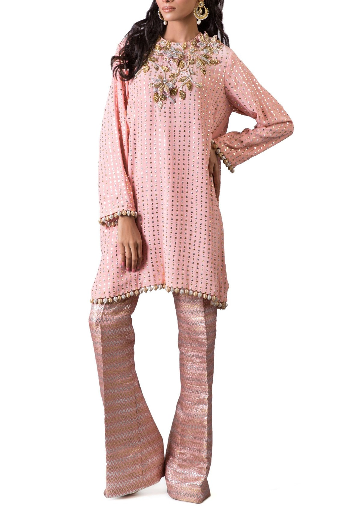 Maheen Karim - Pink Crepe Silk Tunic With Trouser