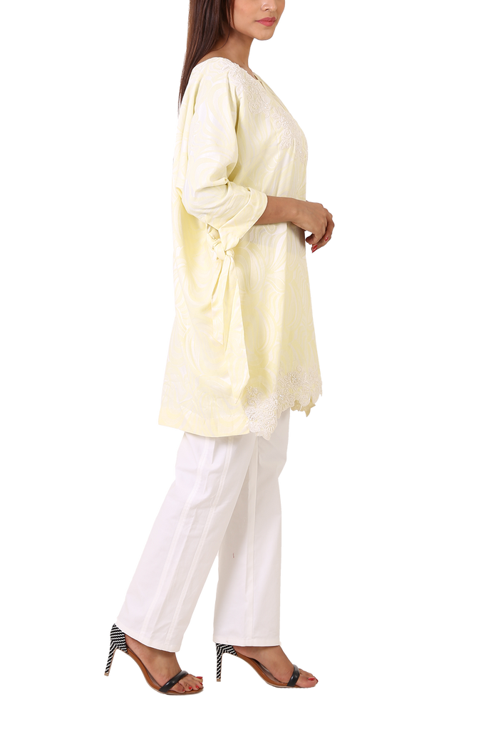 Maheen Taseer - Powder Yellow Printed Kimono Shirt With Laced Embroidery