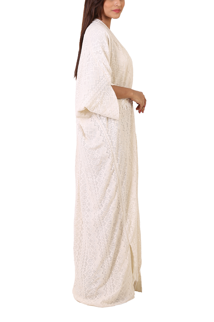 Maheen Taseer - White Embroidered Schiffli Fabric Kaftan