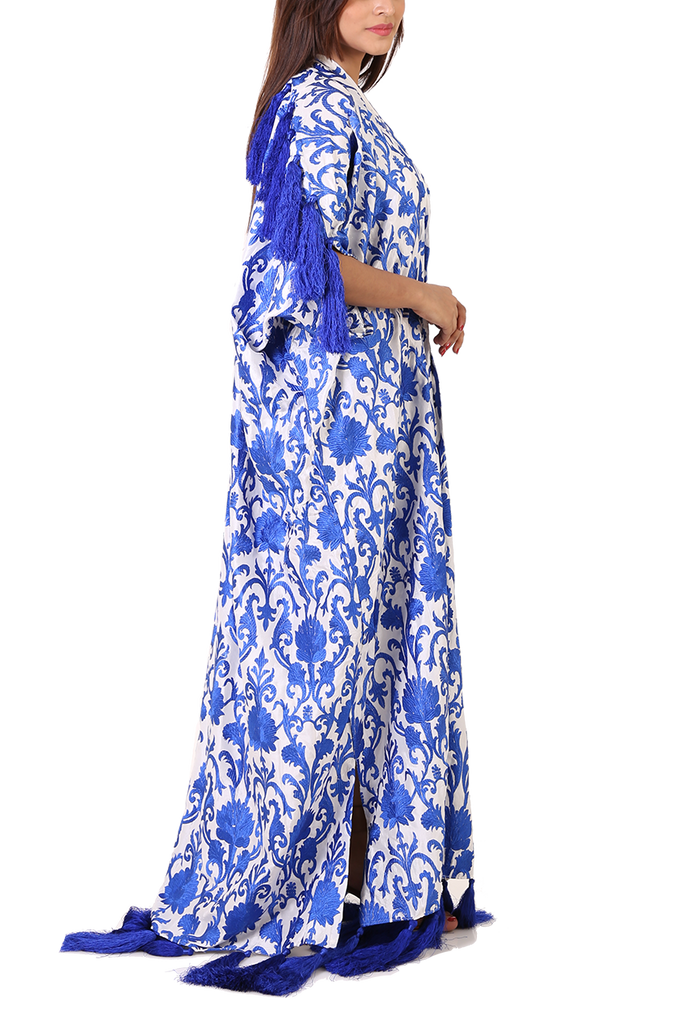 Maheen Ghani Taseer - Embroidered Blue And White Kaftan With Blue Tassels On The Bottom