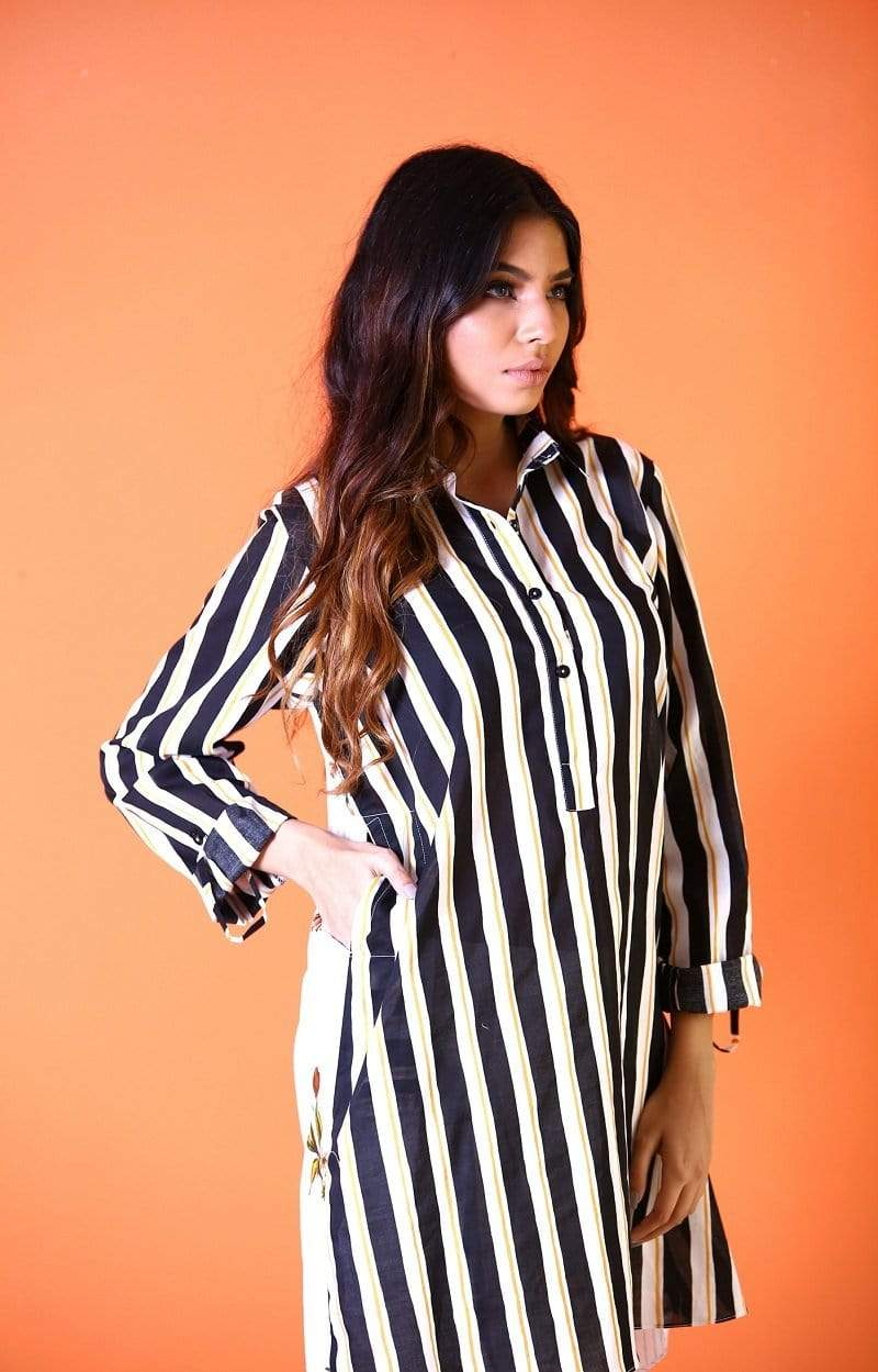 Yasmin Zaman - Black And White Strip Shirt - P-210