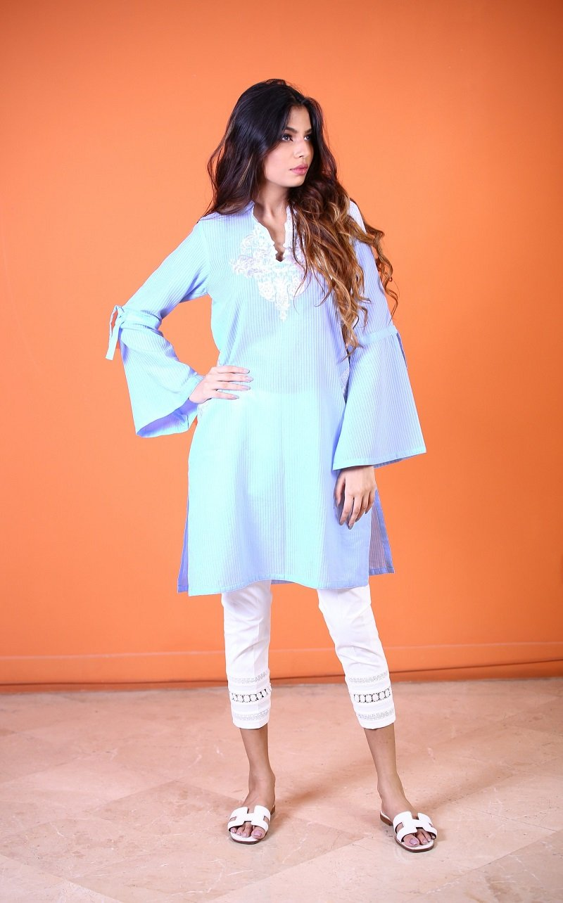 Yasmin Zaman - Blue Embroidery Shirt - P-216