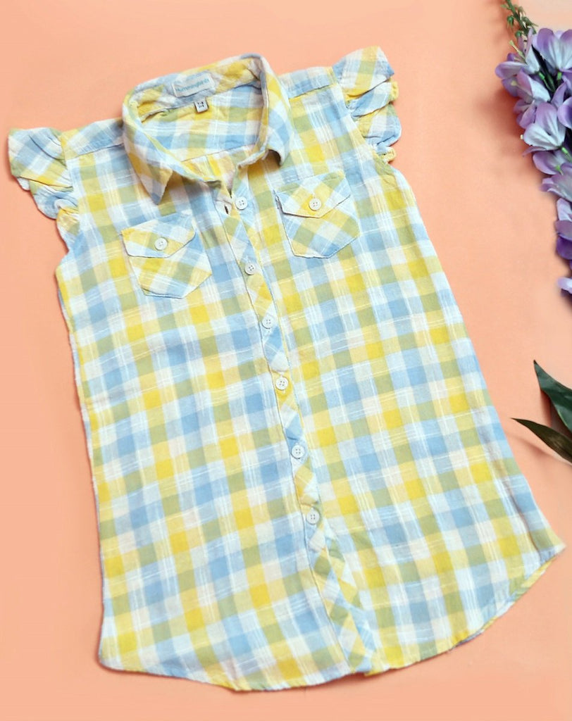 Hummingbirds - Yellow & Blue Check Top