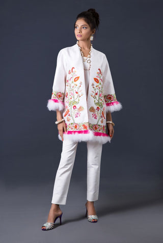 Maheen Karim - White Raw Silk Coat