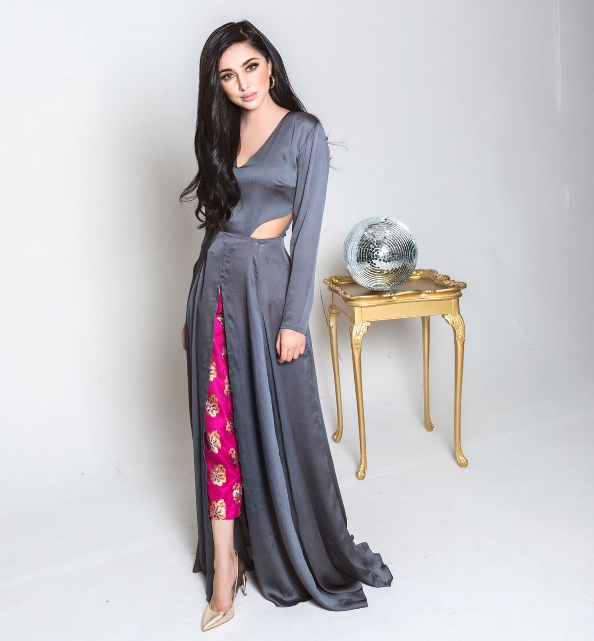 Samaira Ghani - Silk Cut Out Gown With Foil Silk Pants