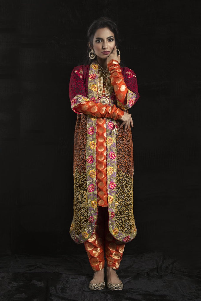 Sanam Chaudhri - Black & Orange Silk Shirt And Chogha With Silk Shalwar