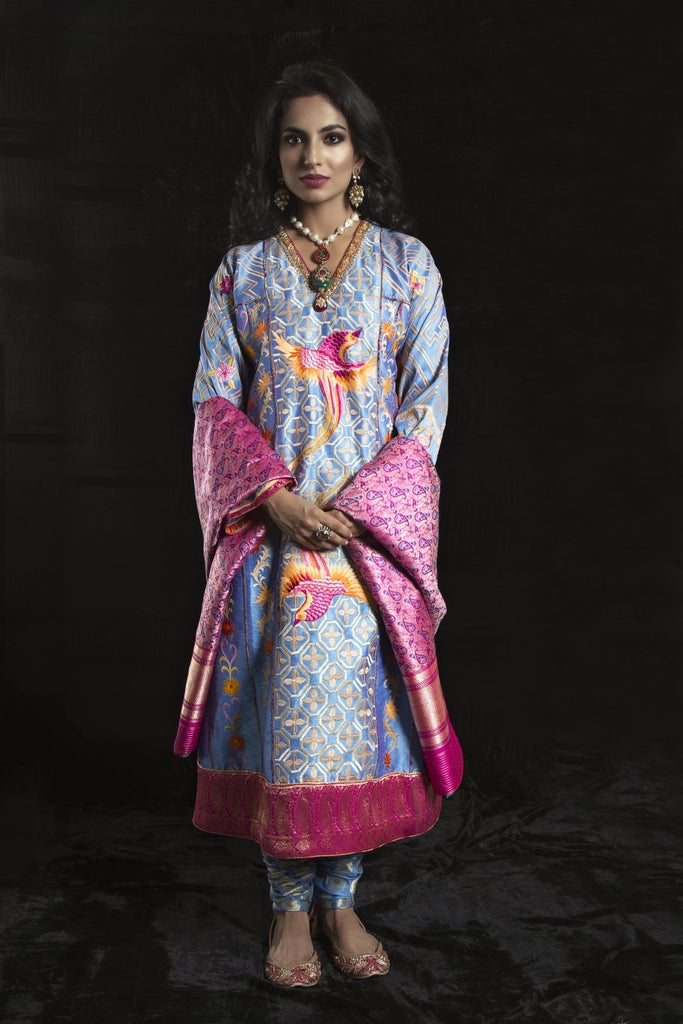 Sanam Chaudhri - Orange & Blue Raw Silk Coat & Shirt