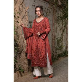 Rizwan Beyg - Burnt Orange Traditional Dori Shirt with Dupatta