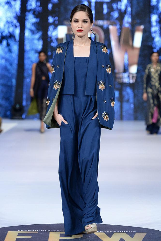 Sanam Chaudhri - Midnight Blue Strapless Jumpsuit & Jacket