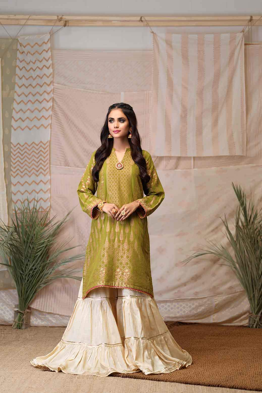 Bonanza Satrangi - Golden Jacquard Kurti - 1 PC