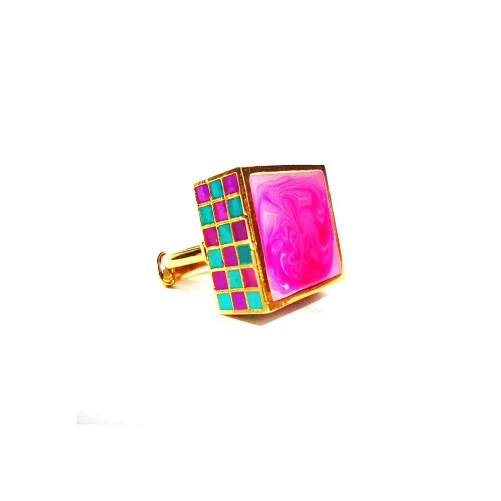 Red Dot Jewels - Jali Ring in Pink