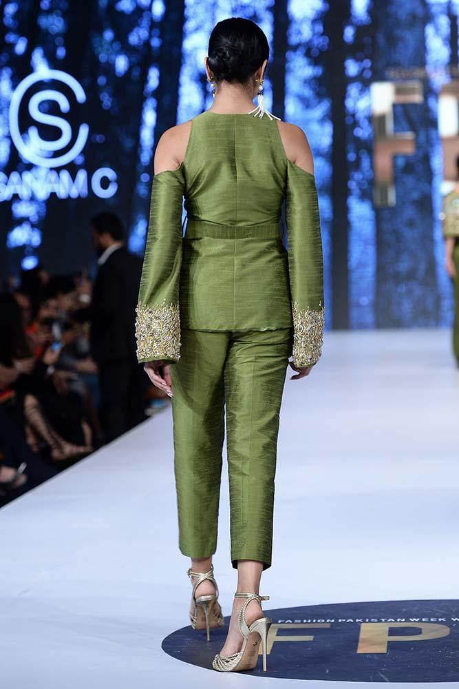 Sanam Chaudhri - Green Raw Silk Kimono Jacket & Trousers