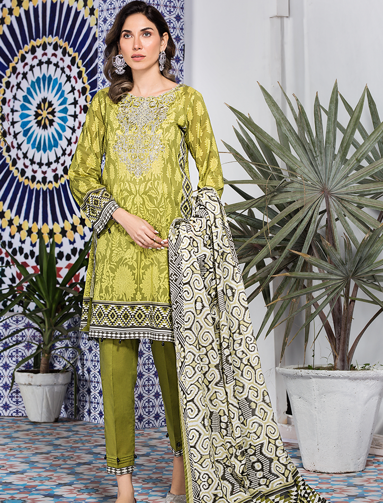 Khas Stores - Olive Green Vivir 3 PC - KL - 4109 - Unstitched