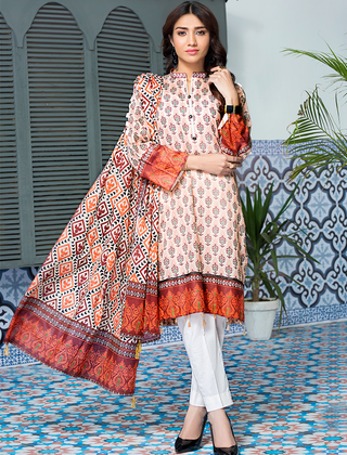 Khas Stores - Beige Warm Browns 3 PC - KLA - 9072 - Unstitched