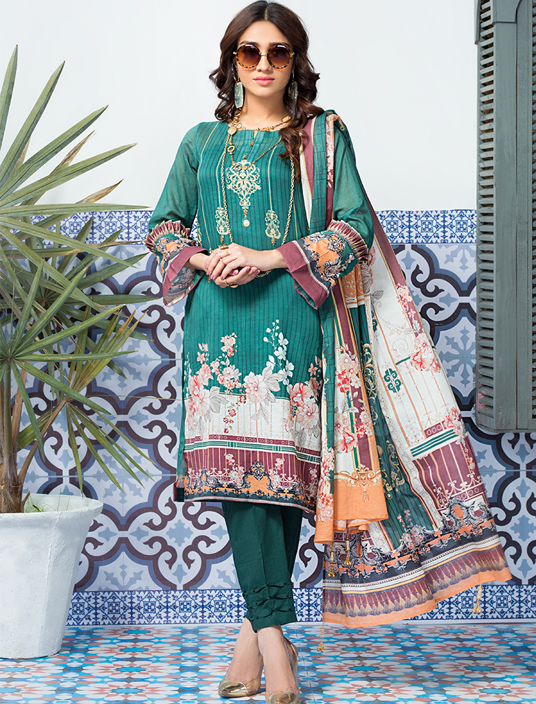 Khas Stores - Green Nightangle 3 PC - KLA - 9091 - Unstitched