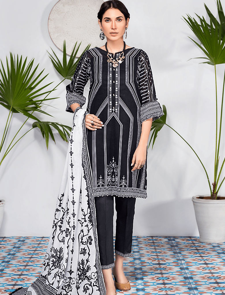 Khas Stores - Black Bold In Black 3 PC - KLA - 9074 - Unstitched