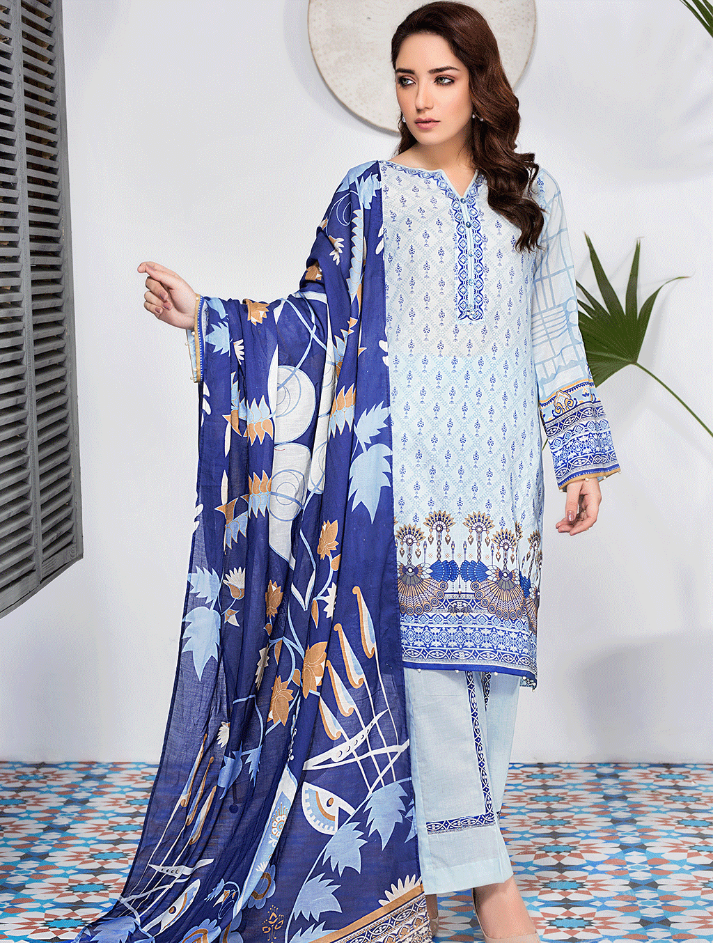 Khas Stores - Grey Aqua 3 PC - KLA - 9076 - Unstitched