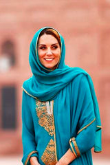 Maheen Khan - Royal Teal Chiffon for HRH Duchess Kate