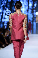 Sanam Chaudhri - OFF THE RUNWAY - Raspberry Pink Cutwork Jacket & Top With Pleated Trousers