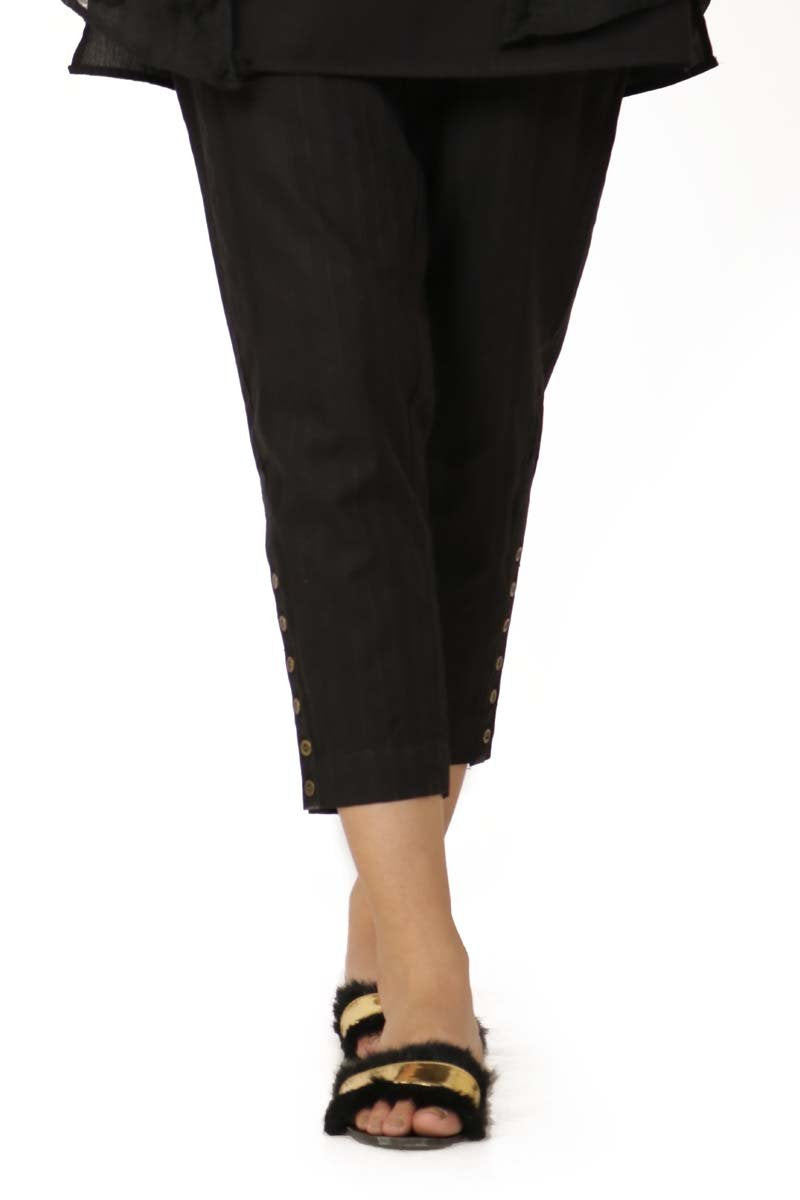 Ego - Black Six Buttons Pants - LW0206