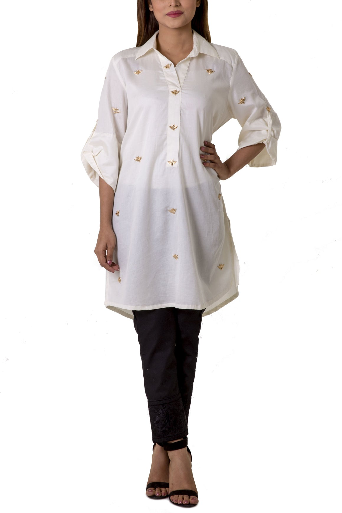 Mehreen Noorani - Le Classique Cream Cotton Collared Tunic