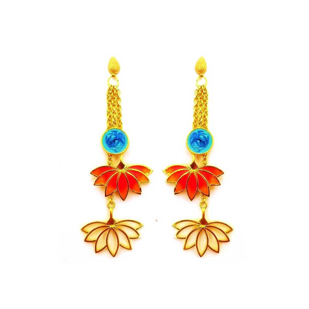 Red Dot Jewels - Lotus Charm Earrings