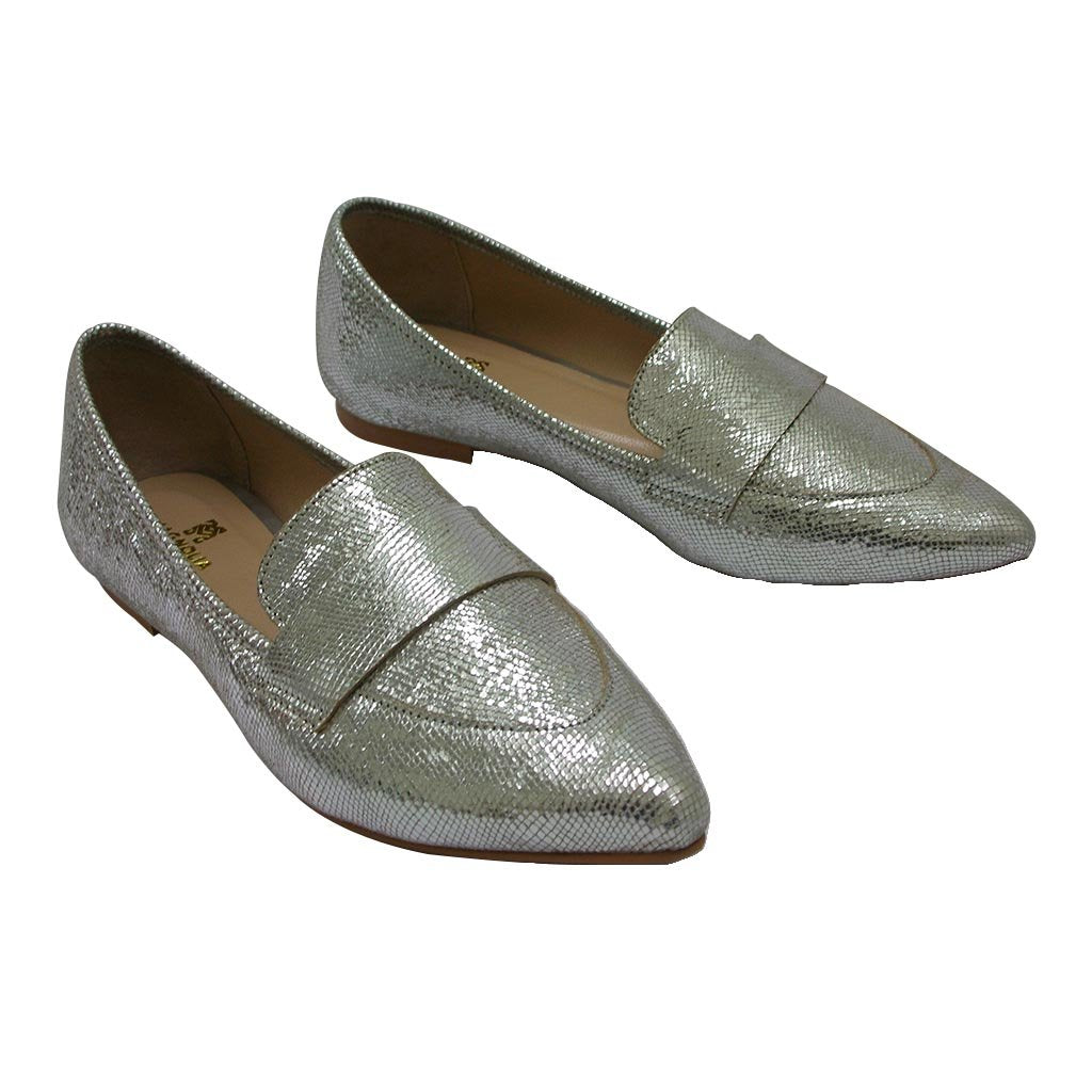 Magnolia - Silver Snake Pointed Toe Loafer Mag-020
