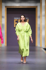 Maheen Khan - Green Front Open Dress with Belt - W-98