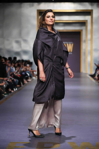 Maheen Khan - Asymmetrical Charcoal Gray Shirt - W-73