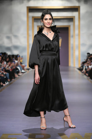 Maheen Khan - Double Collar Black Dress with Belt - W-82X