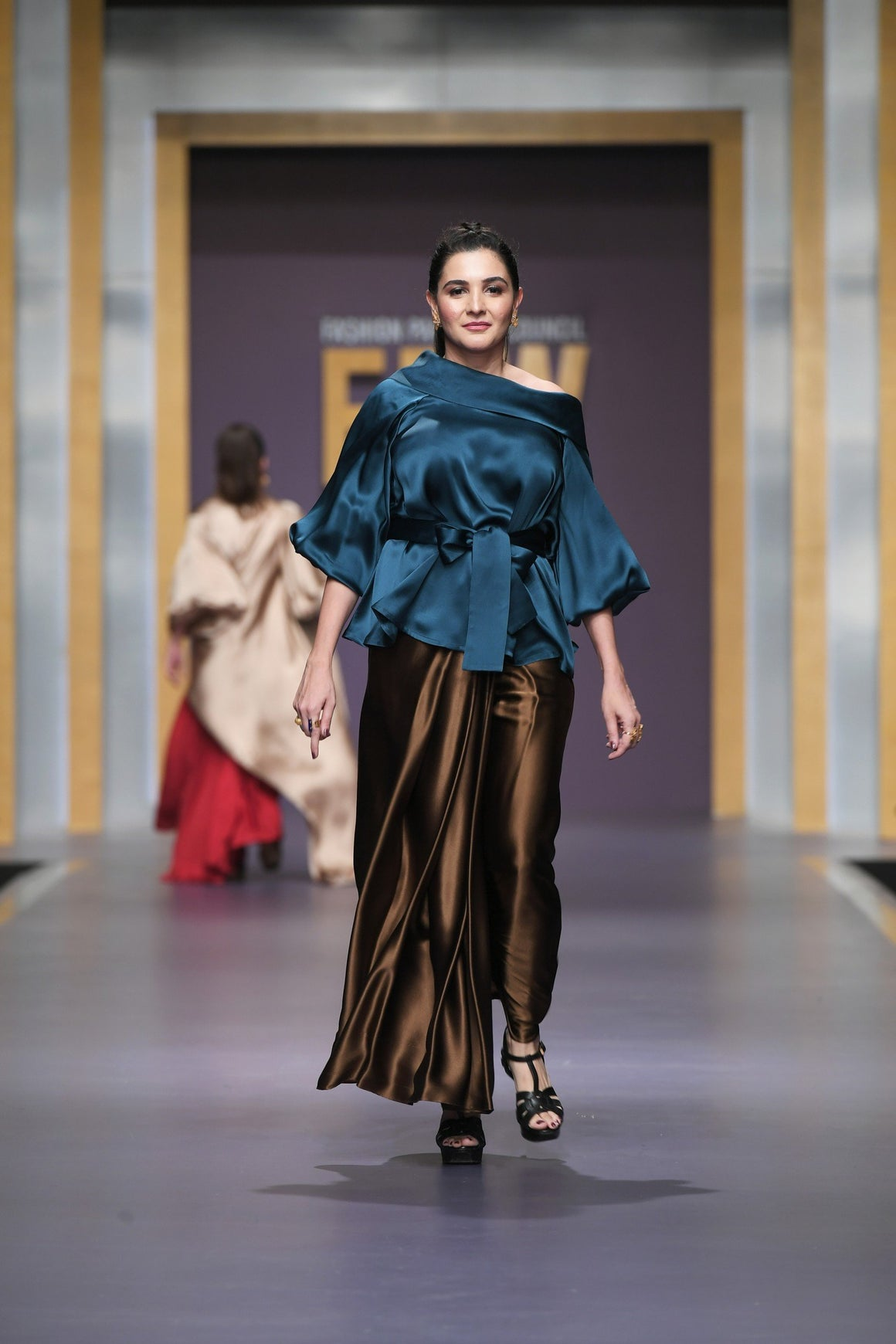 Maheen Khan - Teal Green Top with Asymmetrical Collar - C-3A