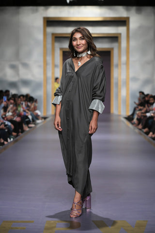 Maheen Khan - Gray Front Open Dress with Cuffs & Belt - W-98