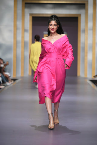 Maheen Khan - Pink Front open Dress with Belt - W-98