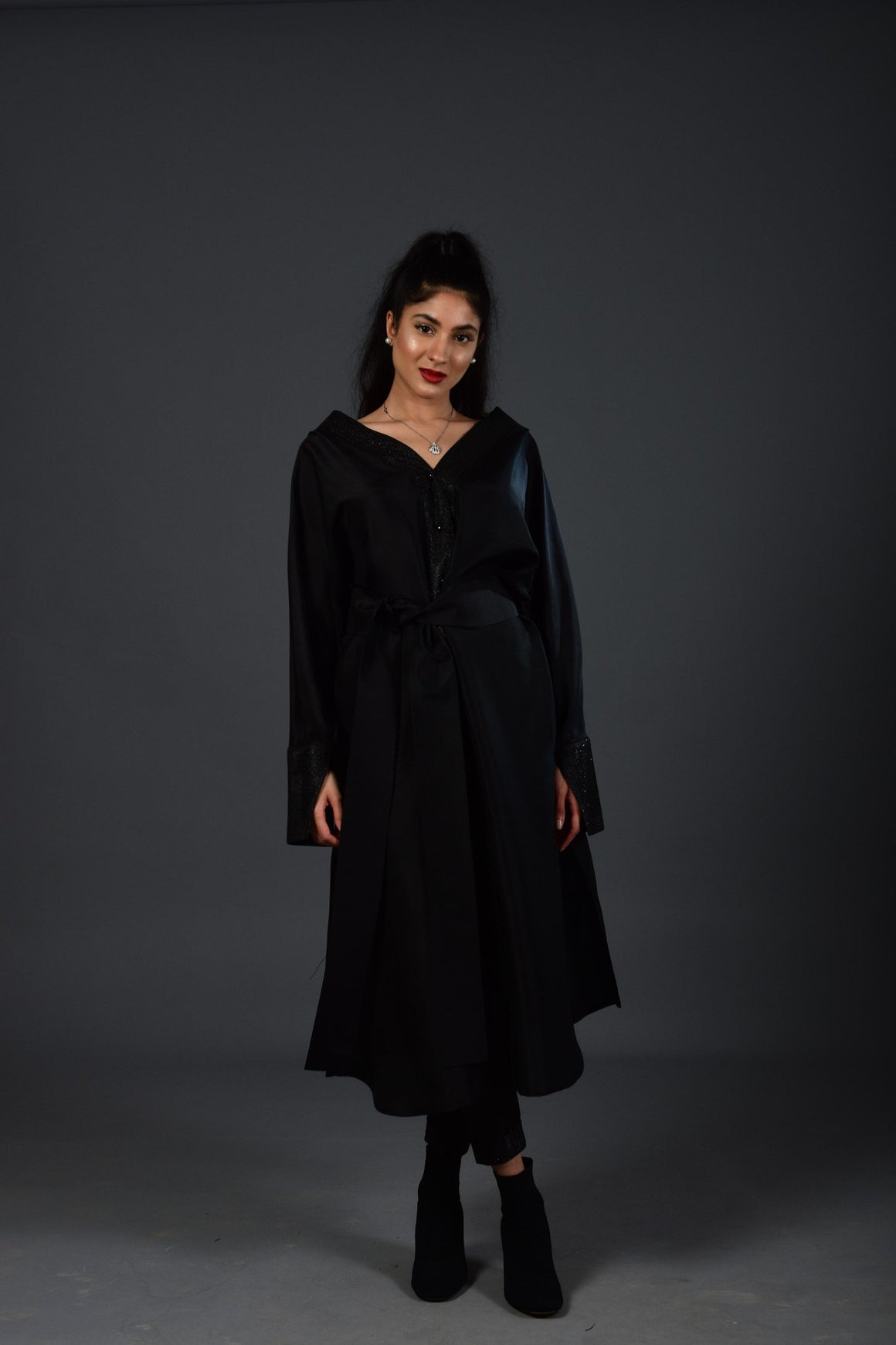 Maheen Khan - Black Raw Silk