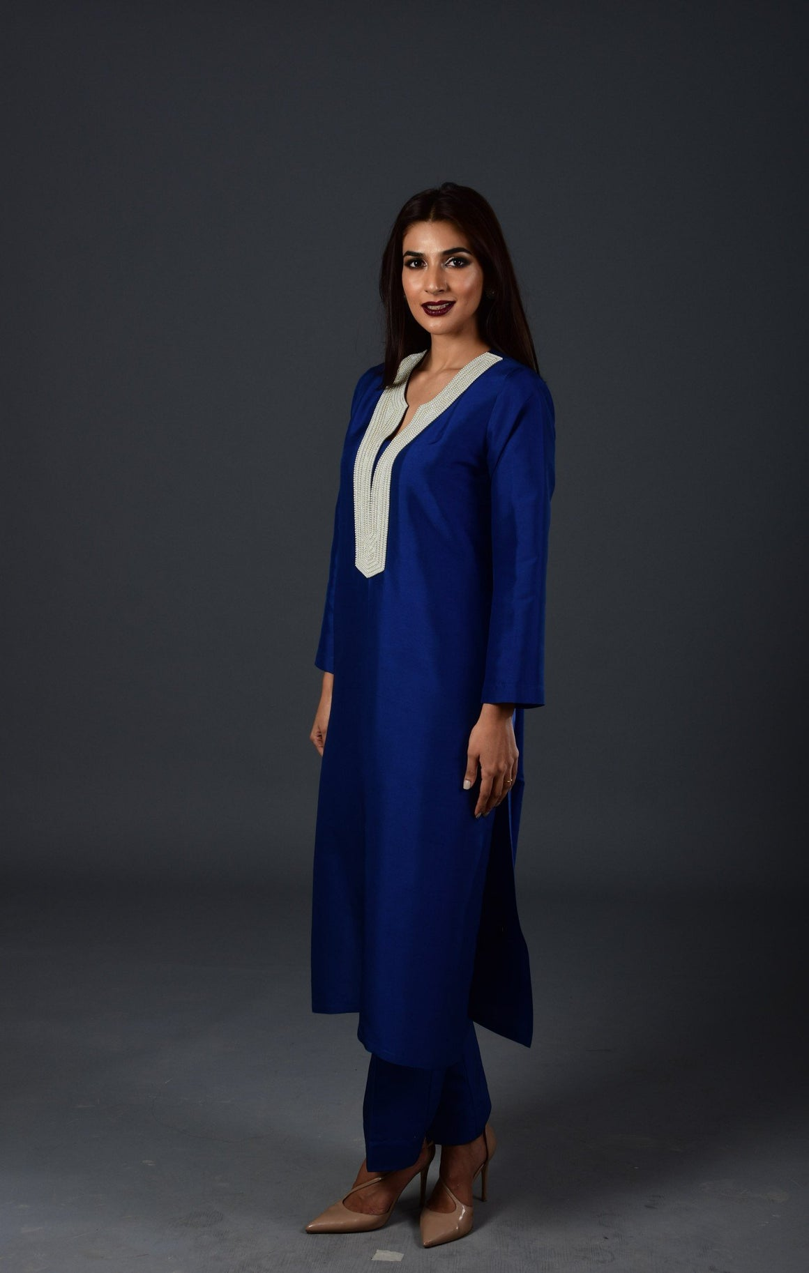 Maheen Khan - Blue Raw Silk