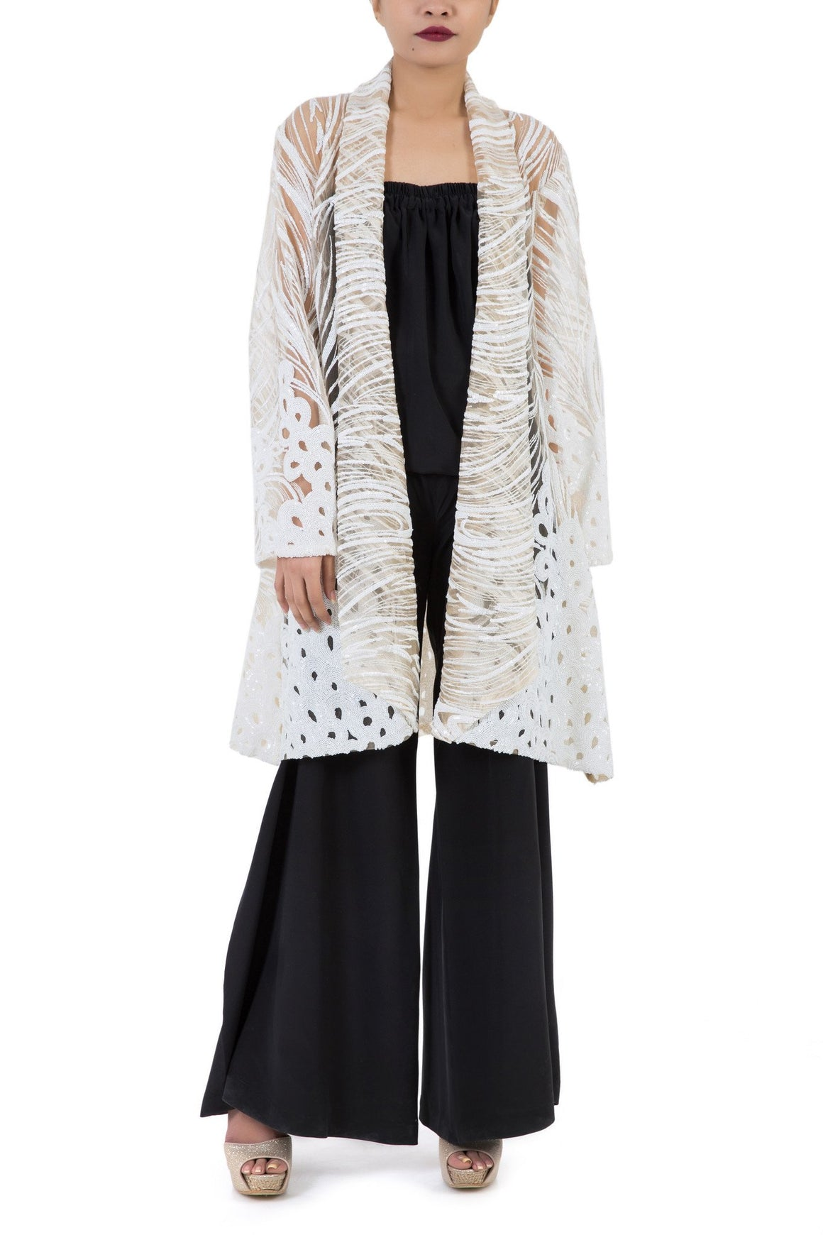 Mehreen Noorani - Starry Night Cream Net Coat