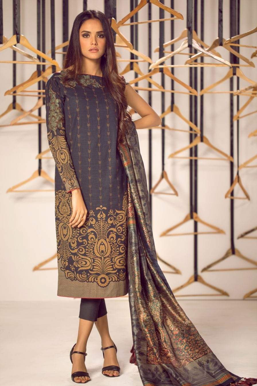 Alkaram Studio - Black - 3 Piece Embroidered Suit with Fancy Dupatta