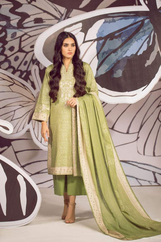 Alkaram Studio - Green - 3 Piece Embroidered Suit with Jacquard Net Dupatta