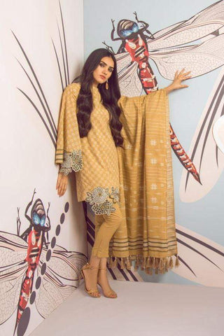Alkaram Studio - Beige - 3 Piece Embroidered Suit with Doria Dupatta
